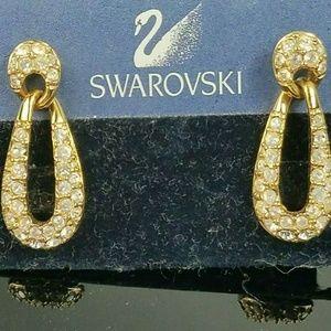Swarovski Dangle Door Knocker Pave Earrings Rose